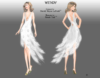 White Peacock Dress Fahion Illustration by BasakTinli
