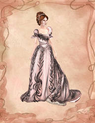 1900s Pink Dress Fashion Illustration
