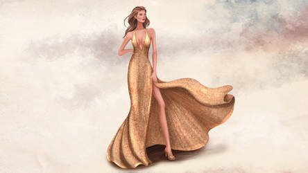 Fashion Illustration Painting Gold Process Video