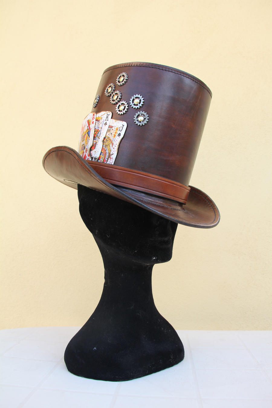 leather steampunk hat by HamraBDG