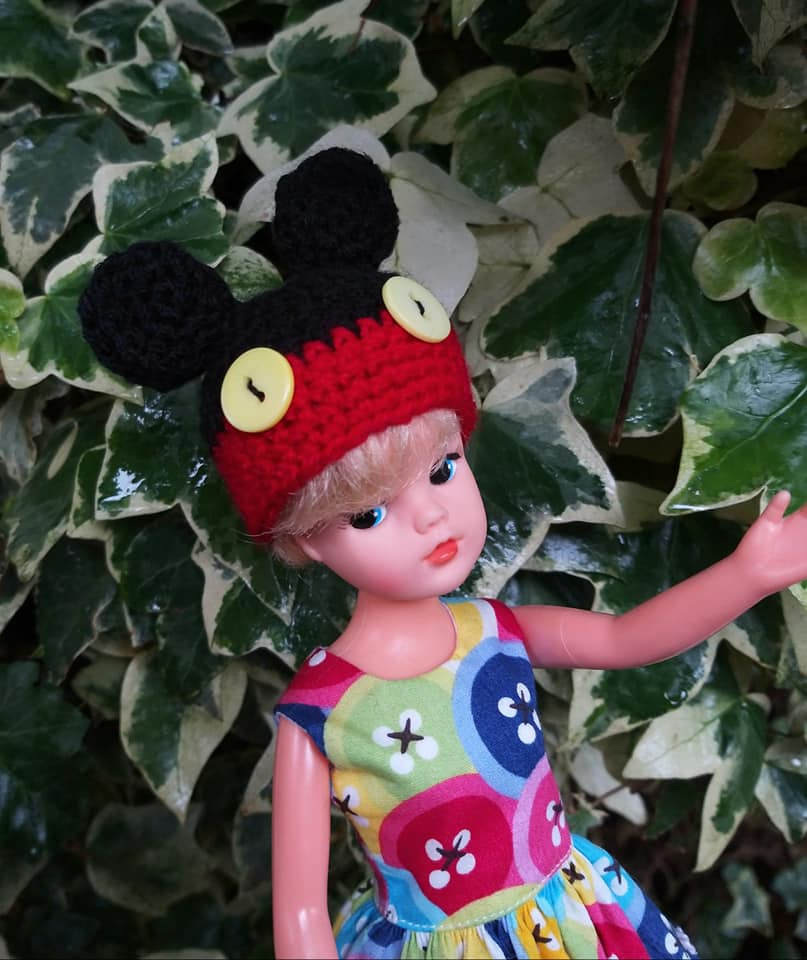 vintage Sindy doll with crochet Micky Mouse hat by