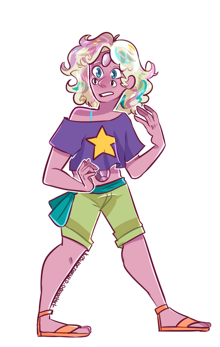 Rainbow Quartz! A younger?...version of rainbow quartz sorta?? LMao I like them! They are their own gem! Despite looking similar to Rainbow Quartz w/ rose this is the last for pearl fusions! IM SUR...