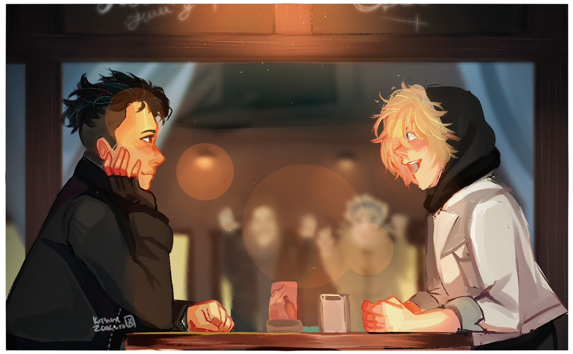 [YOI] Screencap Redraw//Otabek and Yurio on a date by KitsuneZakuro