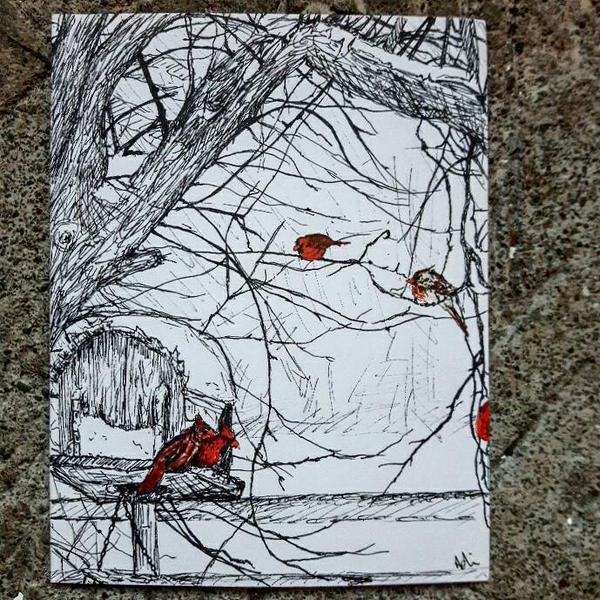 Red Birds by adriennefaye
