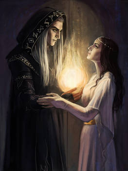 Raistlin Majere and Crysania. by Rami-fon-Verg