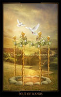 Four of Wands by ThelemaDreamsArt