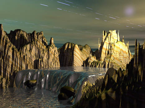 Waterfall spacescape