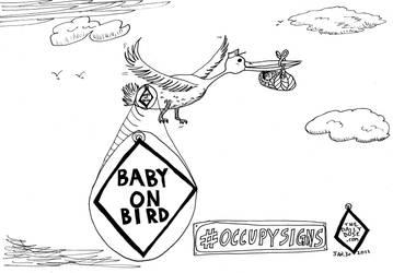 Baby on Bird cartoon