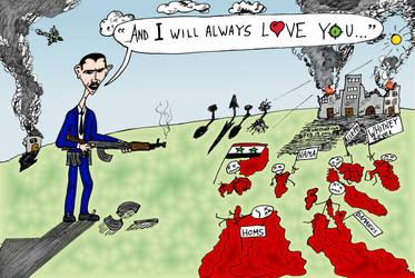 Whitney Houston Bashar Assad cartoon