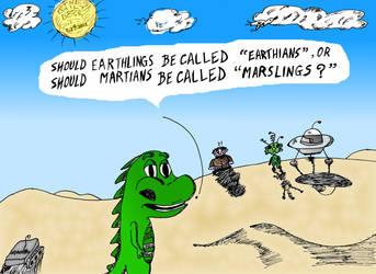 Editorial cartoon - Earthians or Marslings?