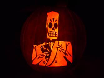 Manny Calavera Pumpkin by ceemdee