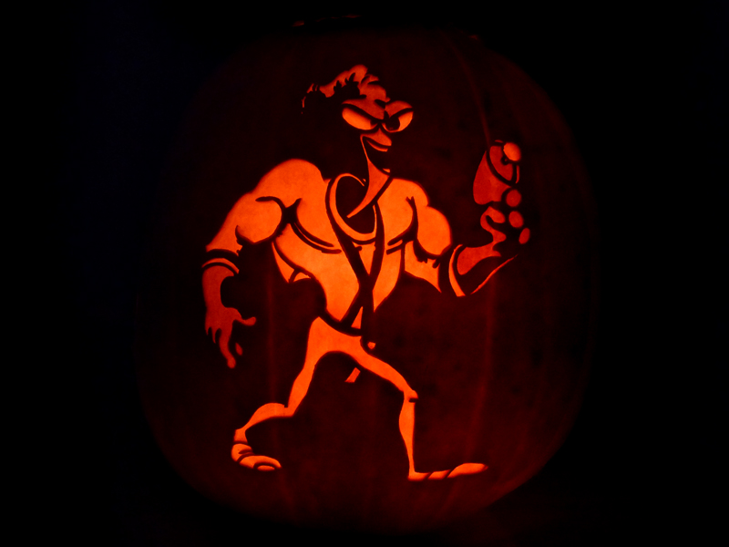 Earthworm Jim Pumpkin by ceemdee