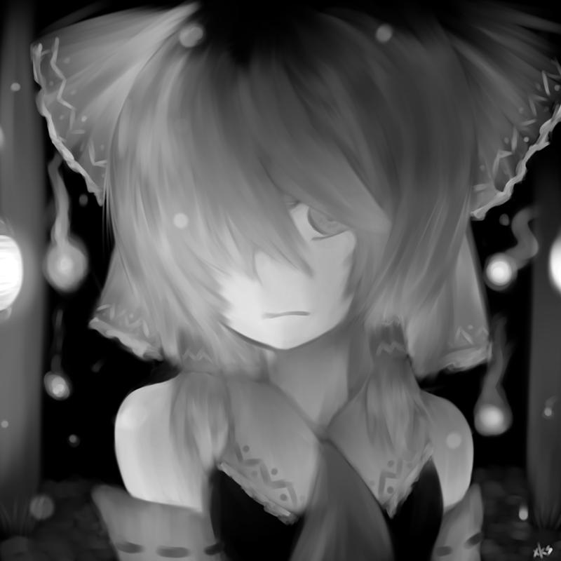 Monochrome Miko by xKaishaku