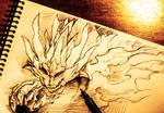 Flaming Sun Dragon Sketch