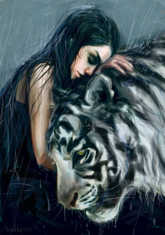 фото тигра с девушкой