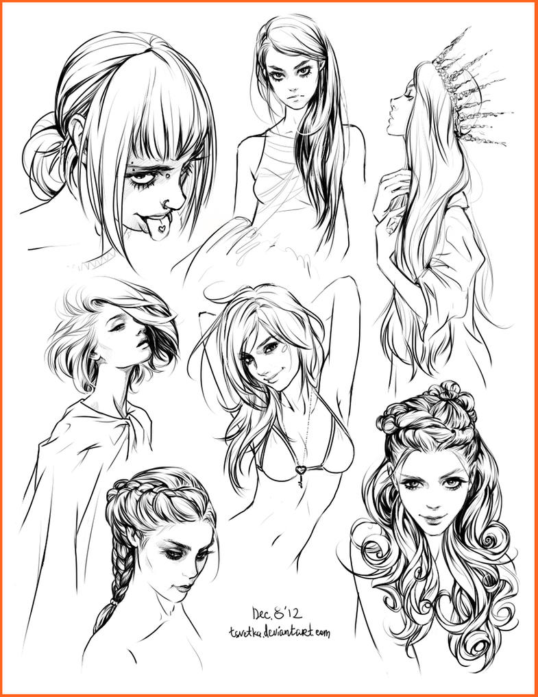 Hair Style Sketches By Tsvetka On Deviantart