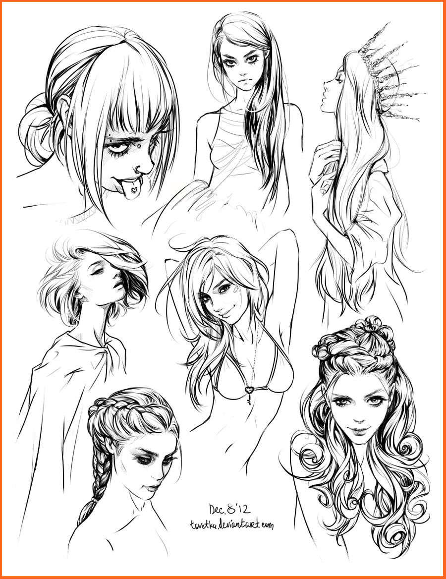 Hair Style Sketches By Tsvetka On DeviantArt - Drawing a hairstyle