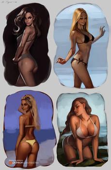 Bikini girls sketches