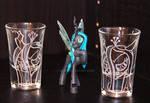 Queen Chrysalis shot glasses