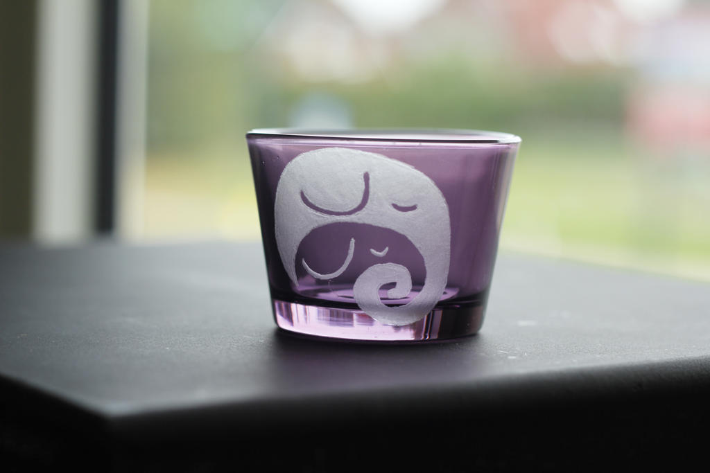 purple tea candle holder with elephants by rtry