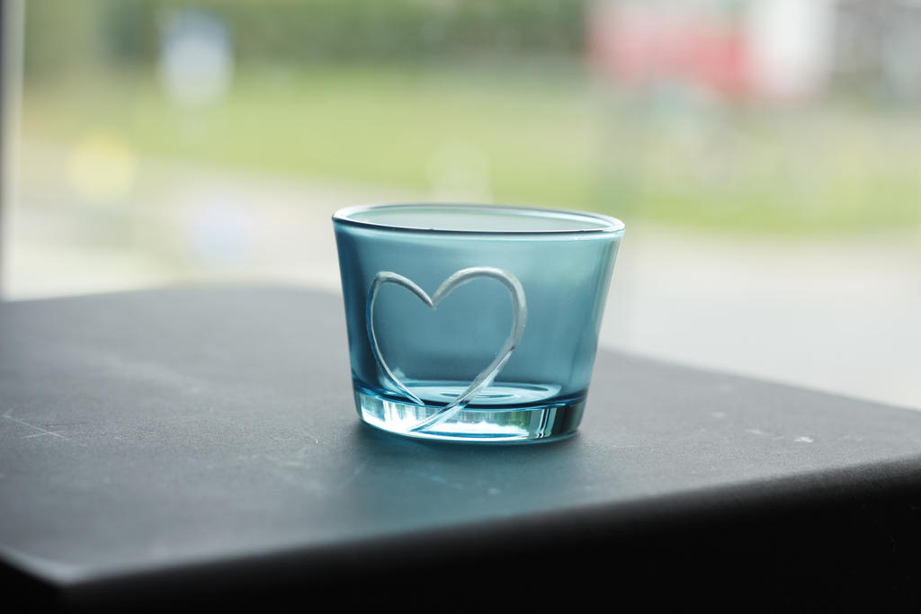 light blue tea candle holder with a heart by rtry