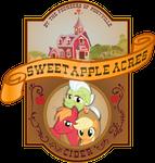 'Sweet Apple Acres Cider'  brand label