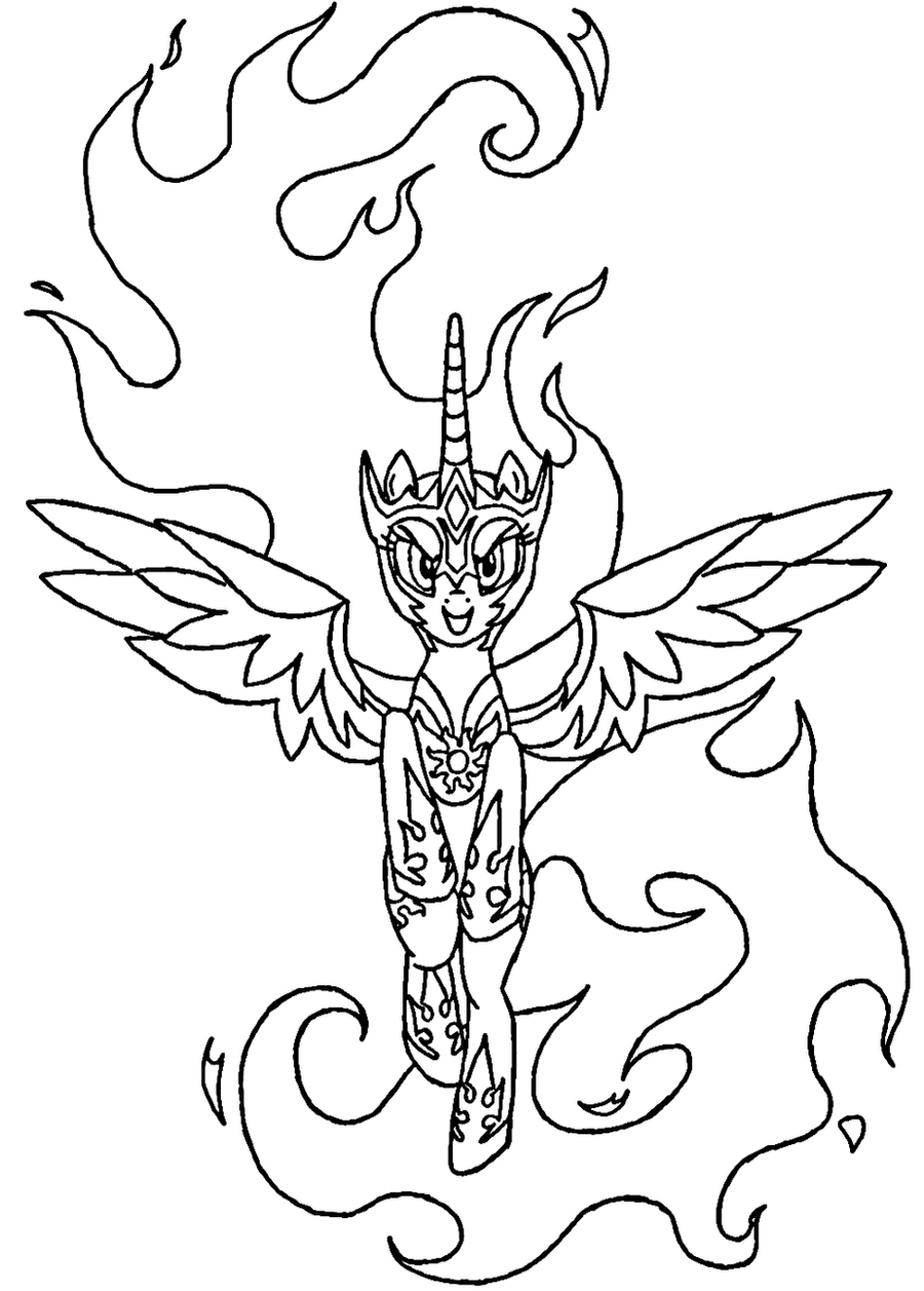 Daybreaker Coloring Page Line Art Celestia MLP 685877291 on little twilight sparkle