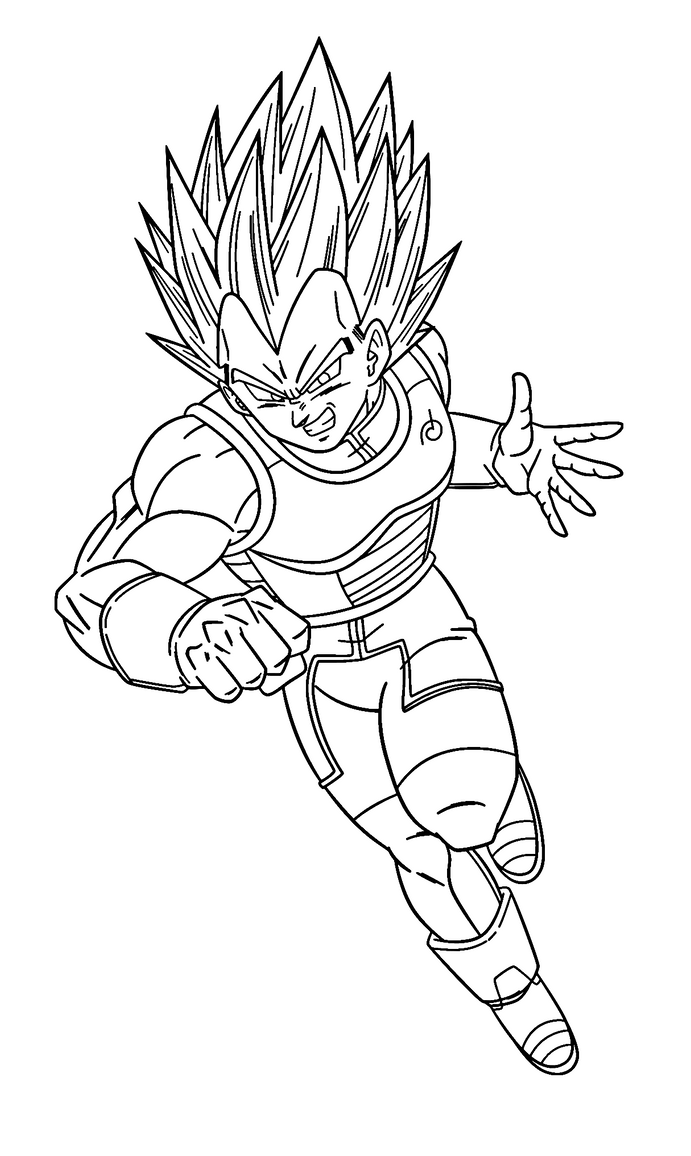 Super Saiyan Blue Vegeta Coloring Page By Sanorace On