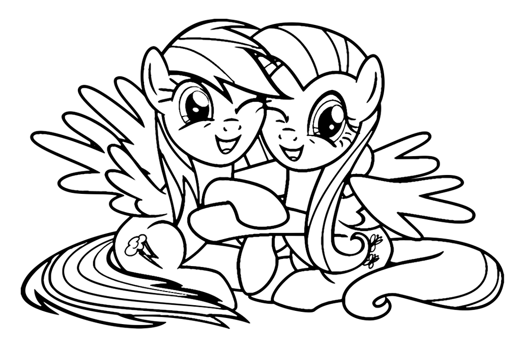 fluttershy and rainbow dash coloring page by sanorace - Rainbow Dash Coloring Page