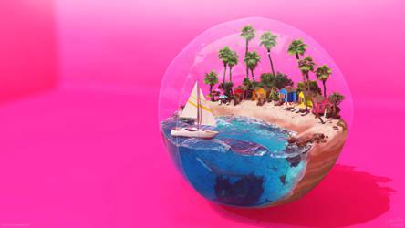 Beach Ball - Hot Pink by Chromattix