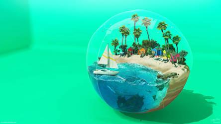 Beach Ball - Cool Aqua by Chromattix