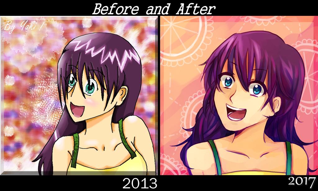 Before /After purple girl by Yoki-doki