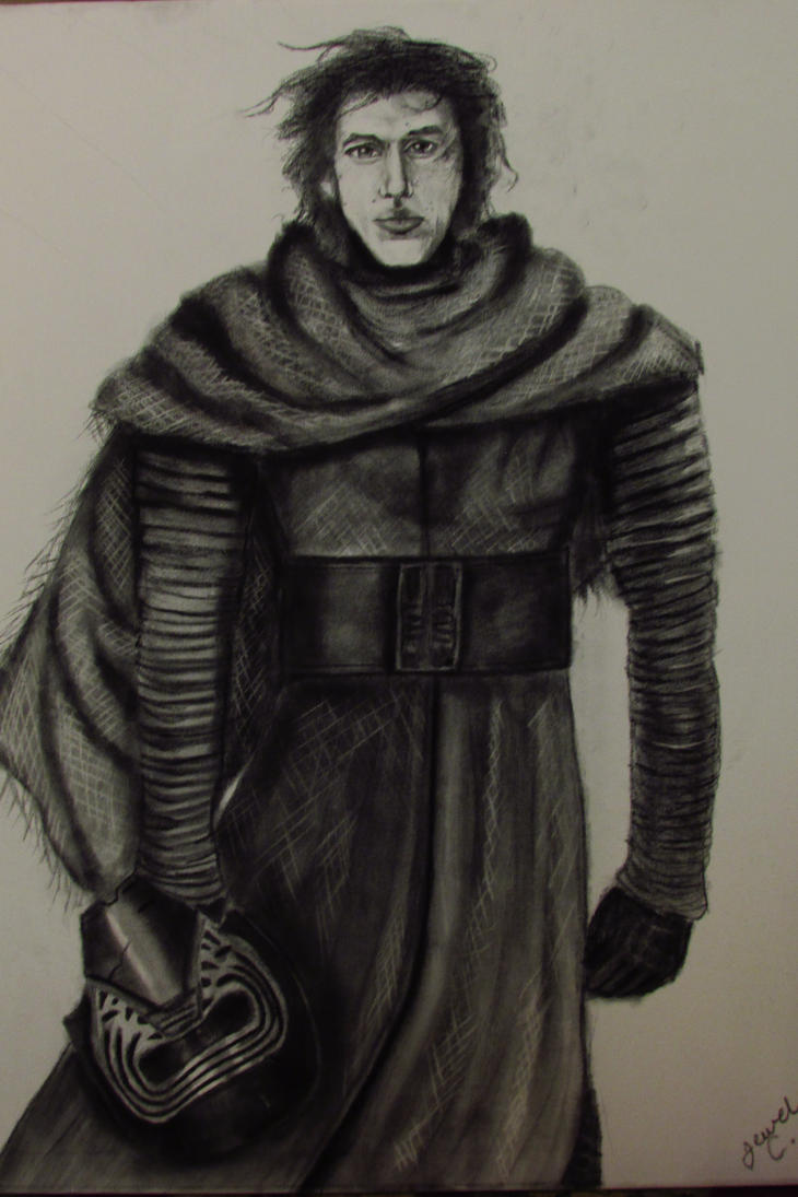 Kylo Ren in Charcoal on Canvas by JulieannaMarie