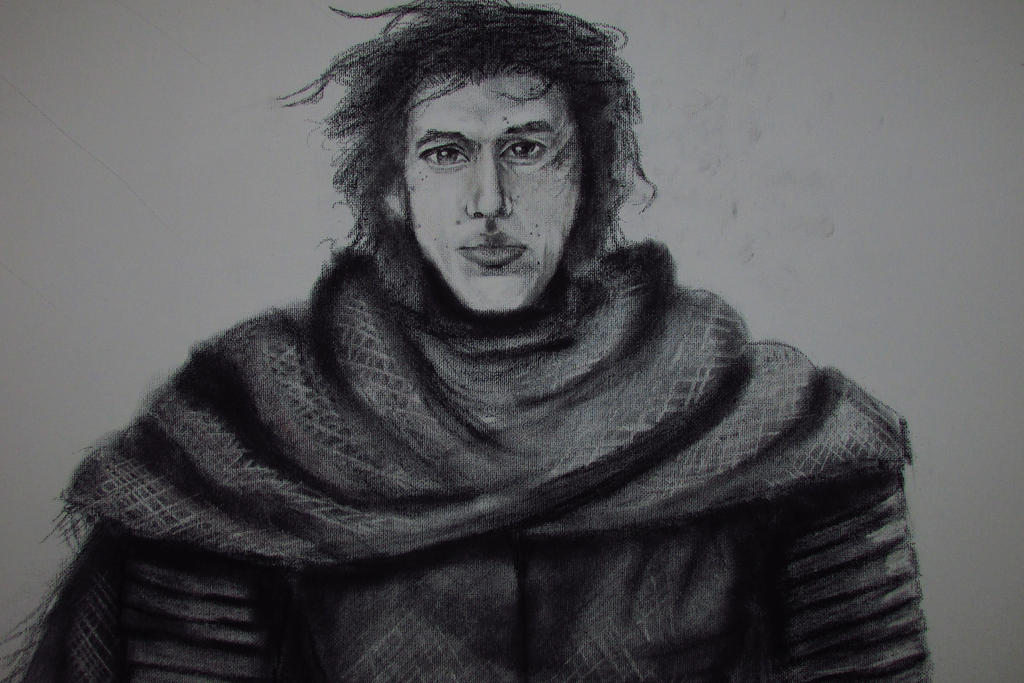 Kylo Ren in Charcoal on Canvas (Close up) by JulieannaMarie