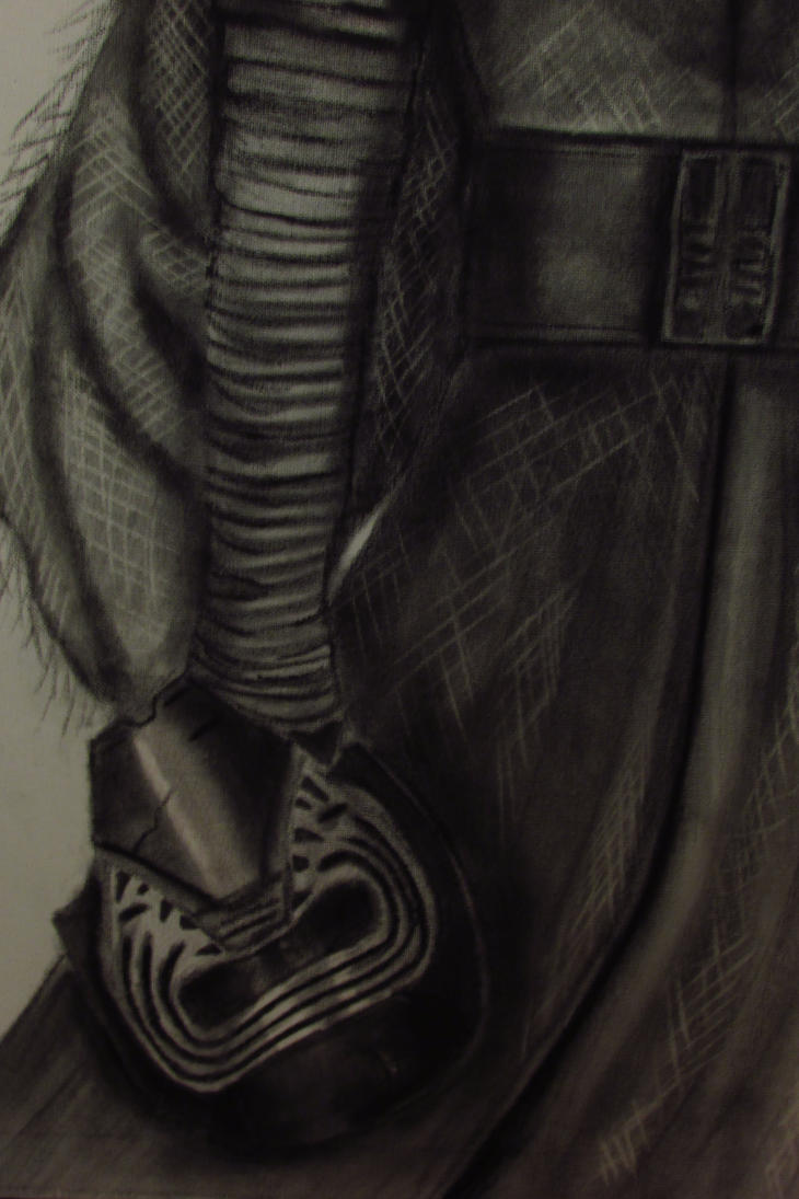 Kylo Ren in Charcoal on Canvas (Close up helmet) by JulieannaMarie