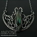 WINGED Labradorite Wire Wrapped Pendant