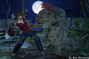werewolf about eat woman