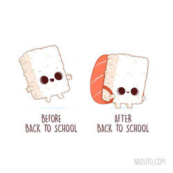 Before and after Sushi back to school