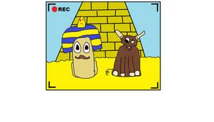 Escarfot et Boeufie devant une pyramide