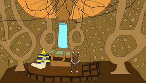 Escarfot et Boeufie dans le TARDIS