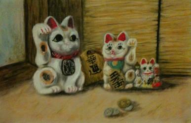Beckoning Cats by ArtisteFish