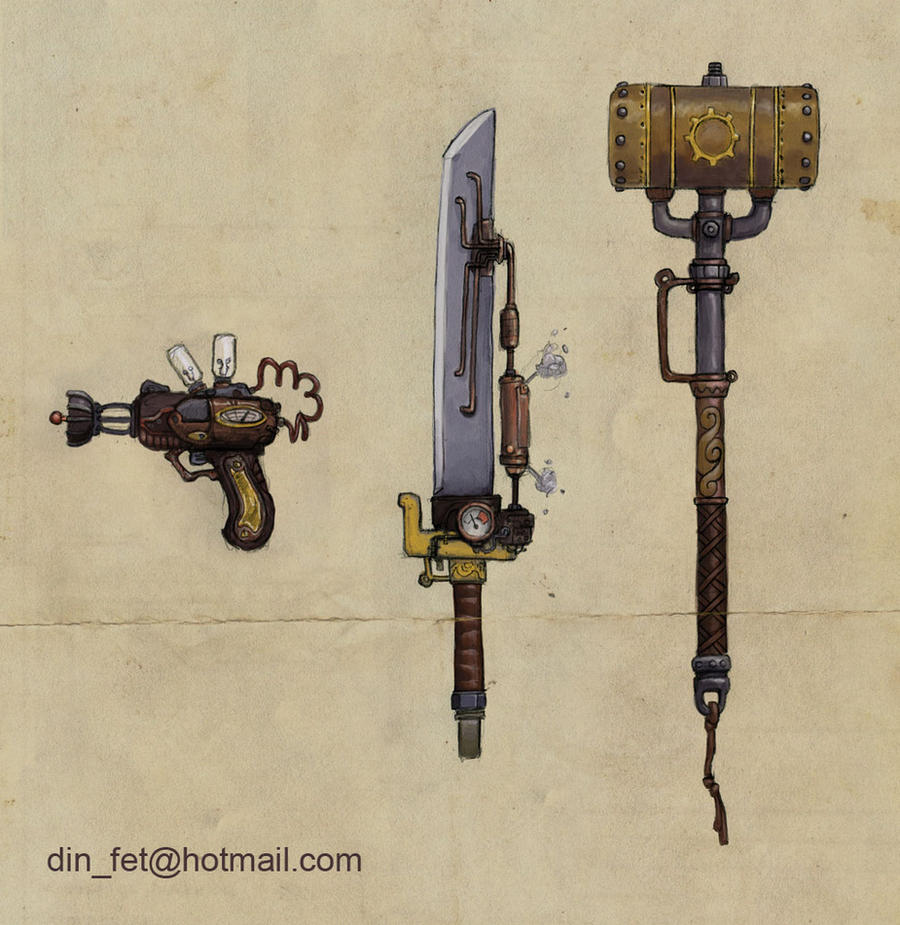 Steampunk weapon designs by dinfet