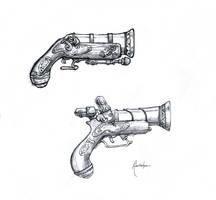 Concept: Steampunk Pirate Guns by dinfet