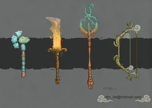 Hand Painted Elemental Weapons Concept
