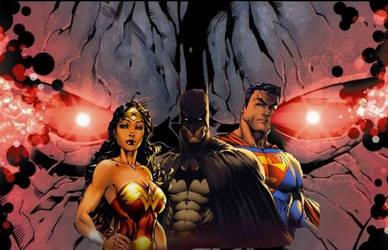 Superman, Wonder Woman, and Batman vs Darkseid by BlackBatFan
