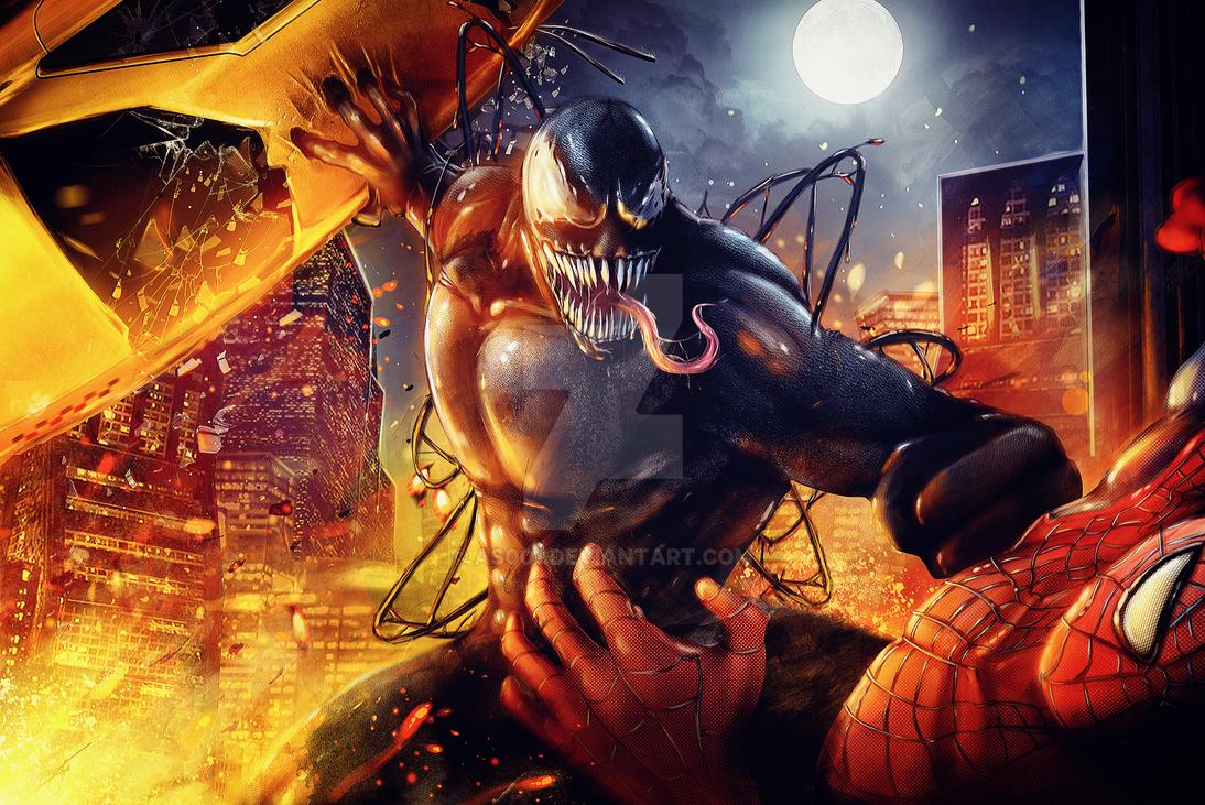 Venom vs. Spider Man by AS001