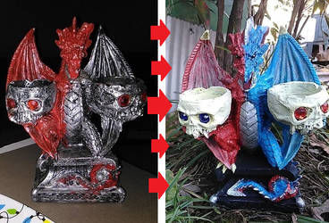Fire and Ice Dragon Candle-Holder Altar UpCycle by Baphy1428