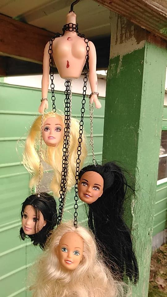 Creepy Hung Doll Head Horror Hanging Decor by Baphy1428