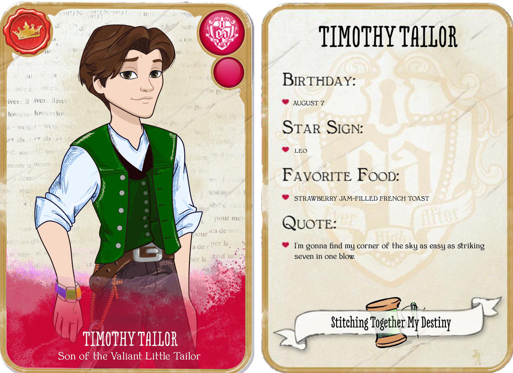 Timothy Tailor Character Card by TheDavyJones on DeviantArt