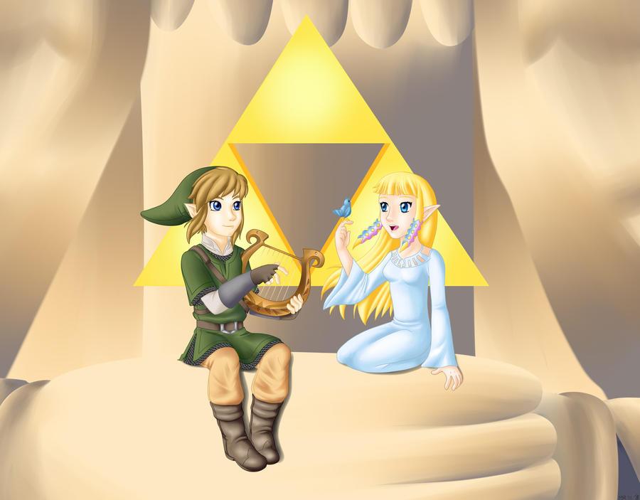 Link And Zelda Skyward Sword By Purplelemon